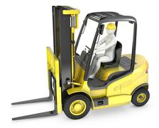 Abstract white man in a fork lift truck - stock illustration
