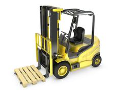 Yellow fork lift truck, with a pallet Piirros