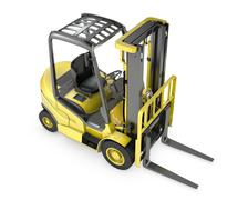 Yellow fork lift truck, top view Piirros
