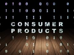 Stock Illustration of Business concept: Consumer Products in grunge dark room