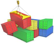 Accident on container trapnsortation - stock illustration
