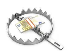 Stock Illustration of Bundle of 200 euro in a bear trap