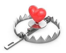 Red heart in a bear trap Piirros