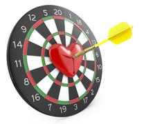 Stock Illustration of Dart hit the heart in the center of datrboad