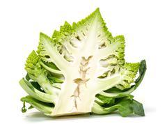 Half Green Fresh Romanesque Cauliflower - stock photo
