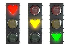 Set of traffic light with heart shaped red, yellow and green lam Stock Illustration