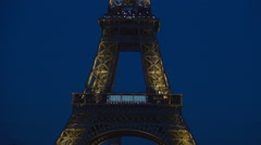 Close View Tour Eiffel Nightfall Twilight Tower Lights France Tourism Symbol  Stock Footage