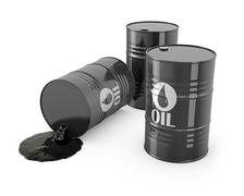 Stock Illustration of Three barrels and spilled oil