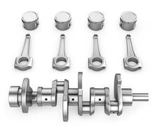 Crankshaft, pistons and connecting rods Stock Illustration