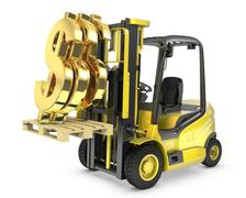 Fork lift truck lifts gold dollar sign Piirros