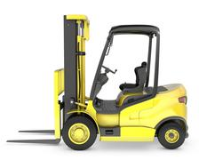 Yellow fork lift truck side view Piirros
