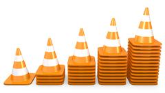Graph of growth made of traffic cones - stock illustration