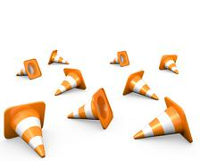 Large group of traffic cones - stock illustration