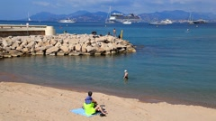 People on Luxury Beach in Cannes, France Stock Footage