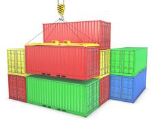 Stock Illustration of Group of freight containers