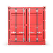 Single red container, front view Stock Illustration