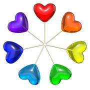 Seven heart shaped lollipops colored as rainbow - stock illustration