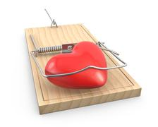 Heart caught in a mouse trap Stock Illustration