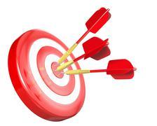 Three red arrows hit target Stock Illustration