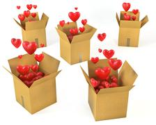 A lot of carton boxes with red hearts flying out of them - stock illustration