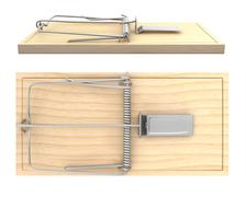 Wooden mouse trap, side and top view Stock Illustration