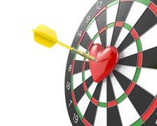 Stock Illustration of Dart hit the heart in the center of datrboad, version without bl