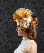 Hairdressing and makeup fashion woman - stock photo