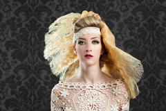 Hairdressing and makeup fashion girl - stock photo
