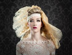 Hairdressing and makeup fashion woman Stock Photos