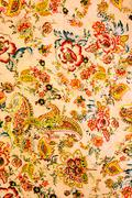 texture of vintage print fabric striped flowers and paisley for background - stock photo