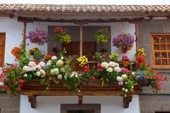 Gran Canaria Teror flower pot balcony Stock Photos