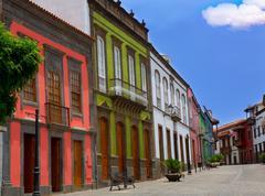 Gran Canaria Teror colorful facades - stock photo
