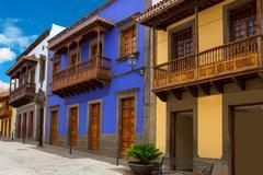 Gran Canaria Teror colorful facades Stock Photos