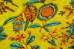 texture of vintage print fabric striped flowers for background - stock photo