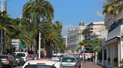 Traffic On The Street of Cannes, France Stock Footage