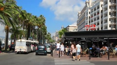Restaurant On The Street of Cannes, France Stock Footage
