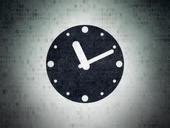 Time concept: Clock on Digital Paper background Stock Illustration