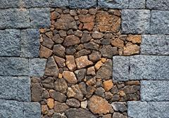 Lanzarote masonry with volcanic stones Stock Photos