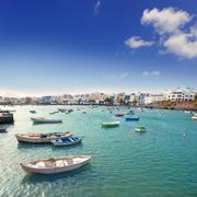 Arrecife in Lanzarote Charco de San Gines boats - stock photo