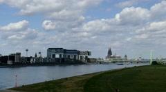 TL TimeLapse 4K Germany Cologne Köln skyline Rheinauhafen Crane Buildings Stock Footage