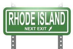 Rhode Island green sign board isolated - stock illustration
