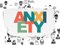 Stock Illustration of Medicine concept: Anxiety on Torn Paper background