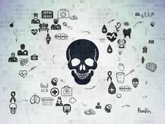 Healthcare concept: Scull on Digital Paper background Stock Illustration