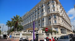 Luxury Hotel Inter Continental Carlton in Cannes, France Stock Footage