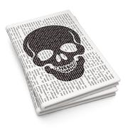 Healthcare concept: Scull on Newspaper background Stock Illustration
