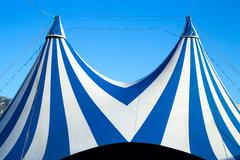 Circus tent stripped blue and white - stock photo