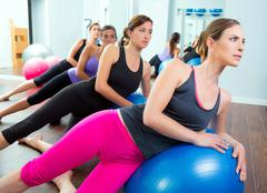 Aerobic Pilates women group with stability ball - stock photo