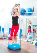 Bosu ball for fitness instructor woman in aerobics Kuvituskuvat