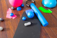 Aerobic Pilates stuff like mat balls roller magic ring Stock Photos