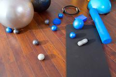 Aerobic Pilates stuff like mat balls roller magic ring - stock photo